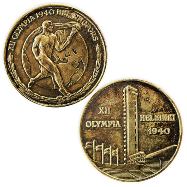 Helsinki Olympic Games 1940 Commemorative medal tampac The Sports Museum of Finland