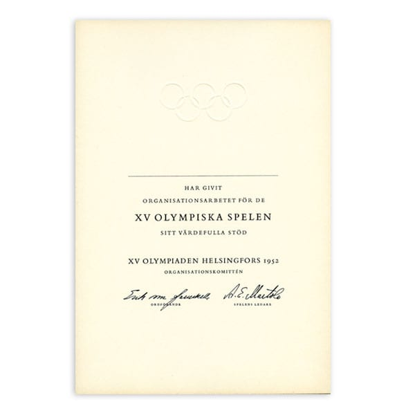 Helsinki Olympic Games 1952 Diploma The Sports Museum of Finland