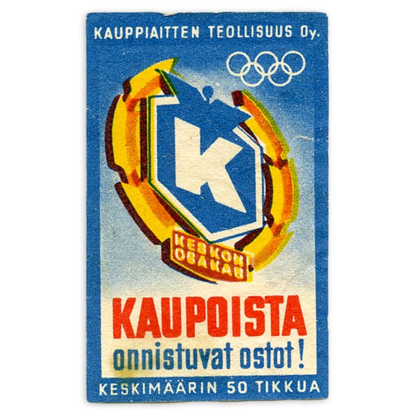 Helsinki Olympic Games 1952 Matchbox label The Sports Museum of Finland