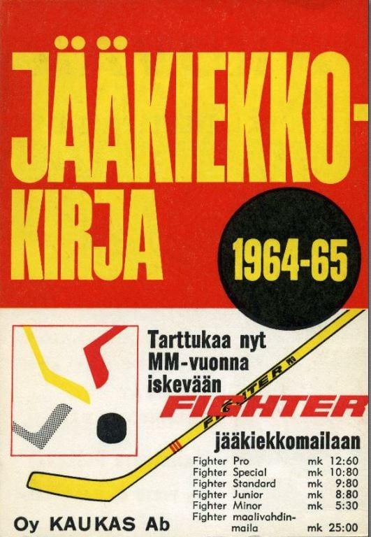 Jääkiekkokirja 1964-65 kansi. Urheilumuseo.