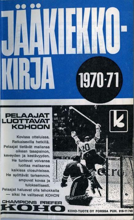 Jääkiekkokirja 1970-71 kansi. Urheilumuseo.
