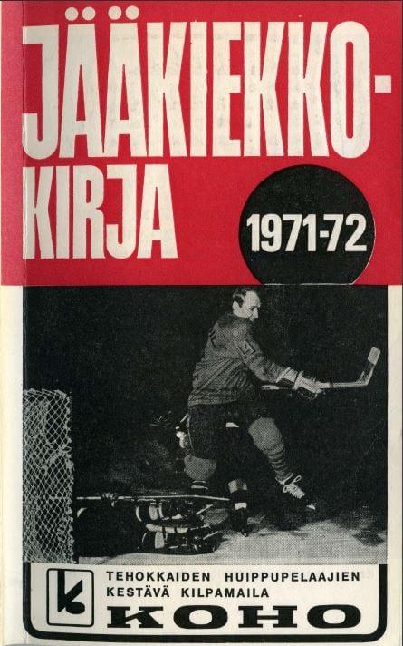 Jääkiekkokirja 1971-72 kansi. Urheilumuseo.