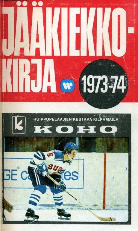 Jääkiekkokirja 1973-74 kansi. Urheilumuseo.