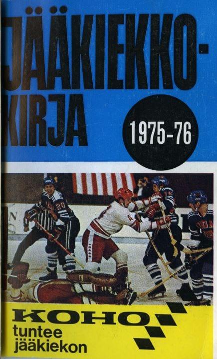 Jääkiekkokirja 1975-76 kansi. Urheilumuseo.