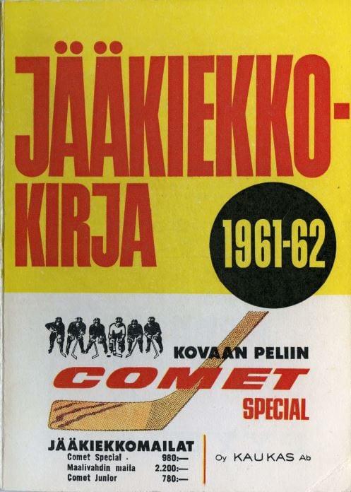 Jääkiekkokirja 1961-62 kansi. Urheilumuseo.