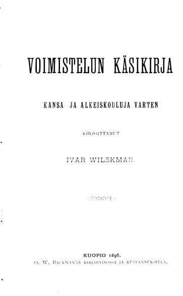 Voimistelun käsikirja, kirjan kansi. Urheilumuseo.