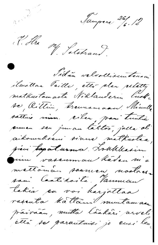 Stockholm-1912_Letter from Paavo Aho