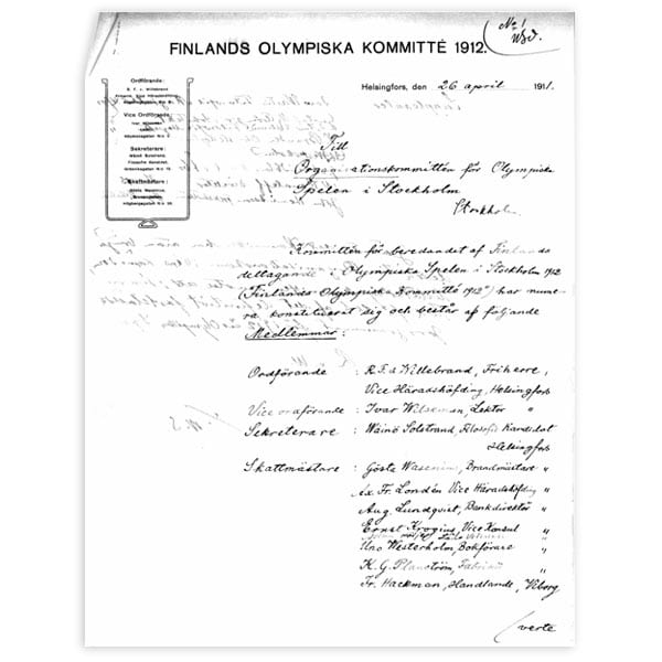 Stockholm-1912_registration letter of Finland to the Olympic Gam